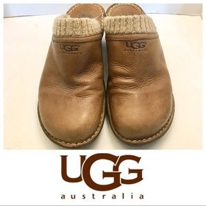 Ugg Gael Chestnut leather mules with sweater trim